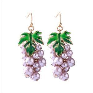Purple Pearl Green Leaves Grapes Drop Earrings
